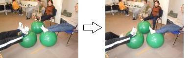 座位での下肢筋のトレーニング②